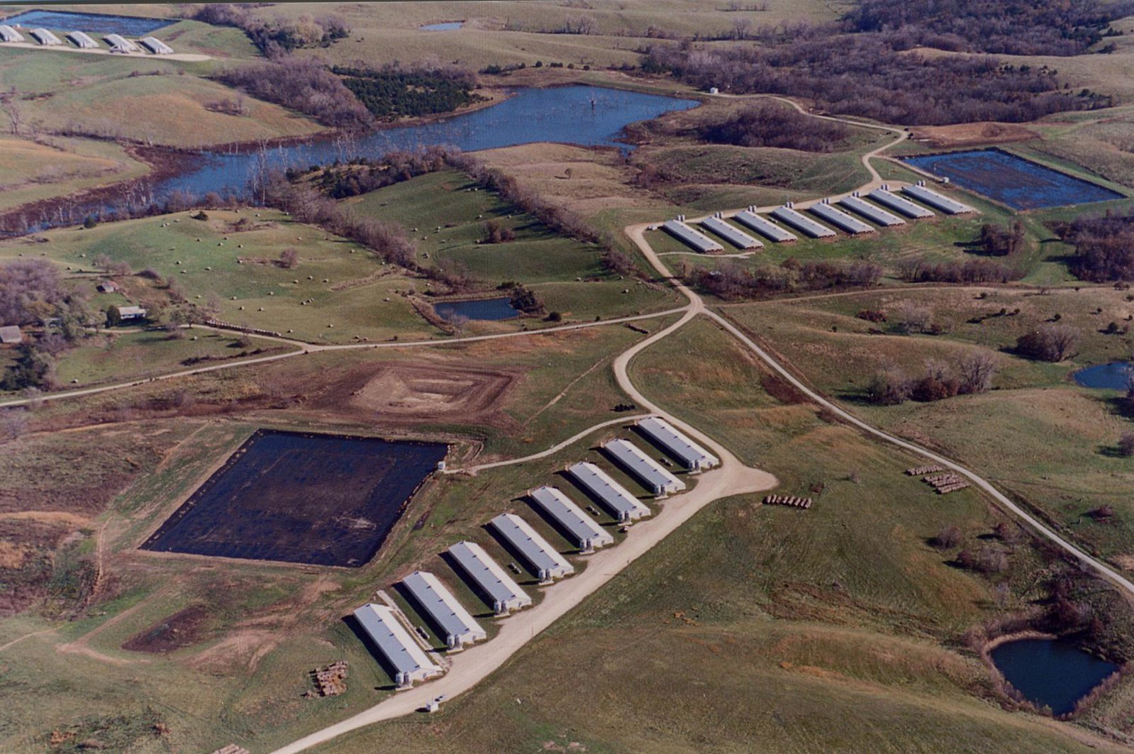 Aerial View of a factory farm
